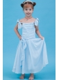 Baby Blue A-line Straps Ankle-length Flower Girl Dress Chiffon Ruch