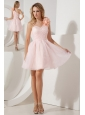 Baby Pink A-line / Princess One Shoulder Cocktail Dress Hand Made Flowers Mini-length Organza
