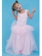 Baby Pink A-line Straps Flower Girl Dress Organza Floor-length
