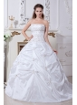 Beautiful A-line Strapless Embroidery Wedding Dress Court Train Taffeta
