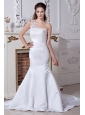 Beautiful Mermaid One Shoulder Wedding Dress Beading and Embroidery Court Train Satin