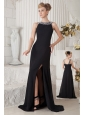 Black Column Bateau Beading Little Black Dress Brush Train Chiffon
