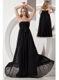 Black Empire Strapless Beading Bridesmaid Dress Floor-length Chiffon