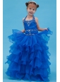 Blue Ball Gown Halter Floor-length Flower Girl Dress Organza Appliques