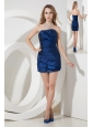 Blue Column / Sheath Strapless Cocktail Dres Ruch Mini-length Satin