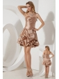 Brown A-line / Princess Sweetheart Cocktail Dress Ruch Mini-length Taffeta