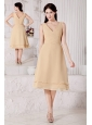 Champagne A-line / Princess V-neck Bridesmaid Dress Tea-length Chiffon Ruch