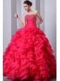 Hot Pink A-Line / Princess Sweetheart Beading and Ruffles Quinceanea Dress Floor-length Organza