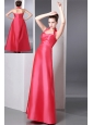 Coral Red Column Halter Ruch Bridesmaid Dress Ankle-length Taffeta