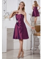 Dark Purple A-line Sweetheart Bridesmaid Dress Appliques With Beading Knee-length Taffeta