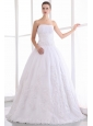 Gorgeous A-line Strapless Wedding Dress Taffeta and Lace Floor-length