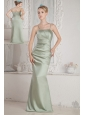 Green Column Straps Beading Bridesmaid Dress Brush Train Satin
