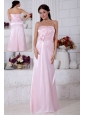 Light Pink Empire Strapless Beading Bridesmaid Dress Floor-length Elastic Woven Satin