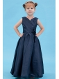 Navy Blue A-line V-neck Flower Girl Dress Taffeta Floor-length