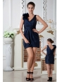 Navy Blue Column V-neck Mini-length Hand Made Flowers Bridesmaid Dress Taffeta Ruch