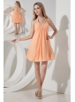 Orange A-line / Princess Halter Ruch Bridesmaid Dress Mini-length Chiffon
