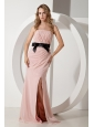 Baby Pink Column Homecoming Dress Bow Strapless Brush Train Chiffon