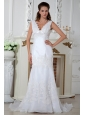 Pretty Column V-neck Wedding Dress Lace and Appliques Court Train Organza