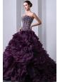 Dark Purple A-Line / Princess Sweetheart Beading and Ruffles Quinceanera Dress Brush Train Organza