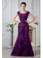Eggplant Purple A-line Scoop Appliques and Beading Mother Of The Bride Dress Brush Train Satin