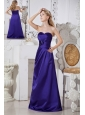 Purple A-line Sweetheart Satin Hand Made Flowers Bridesmaid Dress Floor-length