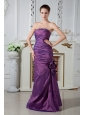 Eggplant Purple Column Strapless Ruch and Beading Mother Of The Bride Dress Floor-length Chiffon