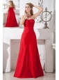 Red A-line Strapless Bridesmaid Dress Taffeta Ruch  Floor-length