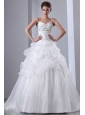 Romantic A-line Spaghetti Straps Wedding Dress Embroidery With Beading Chapel Train Taffeta and Organza