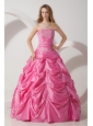 Rose Pink A-line Strapless Appliques Quinceanera Dress Floor-length Taffeta