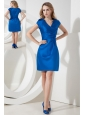 Royal Blue Column V-neck Ruch Bridesmaid Dress Mini-length Satin