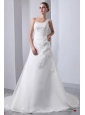 Simple A-line One Shoulder Wedding Dress Appliques With Beading Chapel Train Satin and Organza