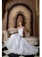 Simple A-line Spaghetti Straps Wedding Dress Ruch Court Train Taffeta