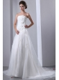 Simple A-line Strapless Wedding Dress Appliques and Hand Made Flowers Court Train Taffeta and Organza