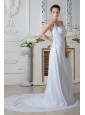 Sweet Empire One Shoulder Beach Wedding Dress Court Train Chiffon Beading and Ruch