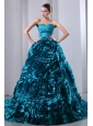 Teal A-Line / Princess Sweetheart Ruch and Hand Made Flowers Quinceanea Dress Brush Train Taffeta