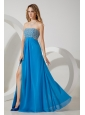 Sky Blue Homecoming Dress Empire Strapless Sequins Floor-length Chiffon