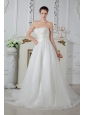 Unique A-line Strapless Wedding Dress Court Train Organza Ruch