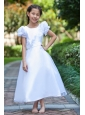 White A-line Scoop Flower Girl Dress Ankle-length Taffeta and Organza Hand Made Flowers