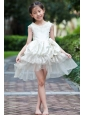 White A-line Scoop Mini-length Flower Girl Dress Taffeta and Organza Hand Made Flowers