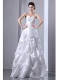 White A-line Spaghetti Straps Wedding Dress Beading and Pick-ups Taffeta Floor-length