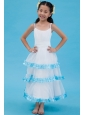 White A-line Straps Flower Girl Dress Ankle-length Organza Ruch