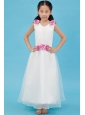 White A-line V-neck Ankle-length Flower Girl Dress Organza Hand Made Flowers