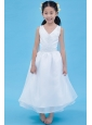 White A-line V-neck Flower Girl Dress Ankle-length Organza Appliques