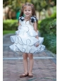 White A-line V-neck Flower Girl Dress Mini-length Taffeta and Organza Hand Made Flowers