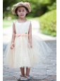 Champagne Ball Gown Scoop Flower Girl Dress Taffeta and Tulle Hand Made Flowers Tea-length