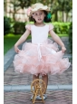 White and Watermelon Red A-line Scoop Flower Girl Dress Knee-length Satin and Organza Ruffles