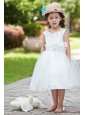 White Ball Gown V-neck Tea-length Flower Girl Dress Taffeta and Organza Hand Made Flowers and Beading