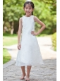 White Column / Sheath Scoop Flower Girl Dress Tea-length Organza and Taffeta