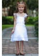 White Column / Sheath Straps Flower Girl Dress Knee-length Taffeta and Organza Beading and Ruffles