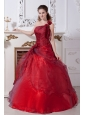 Wine Red Sweet 16 Dress A-line One Shoulder Taffeta and Organza Floor-length